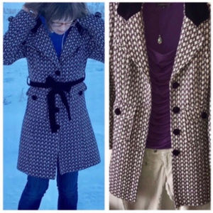 Purple Dress Coat with Houndstooth Pattern